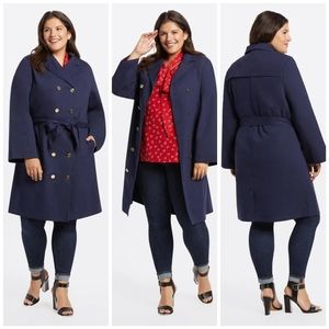 🆕 Draper James navy trench coat size 2X